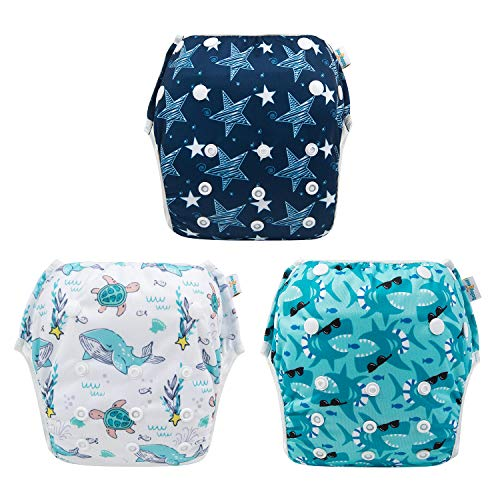 babygoal Baby Reusable Swim Diaper, Washable and Adjustable for Babies 0-2 Years, Swimming Lessons & Baby Shower Gift 3SD07