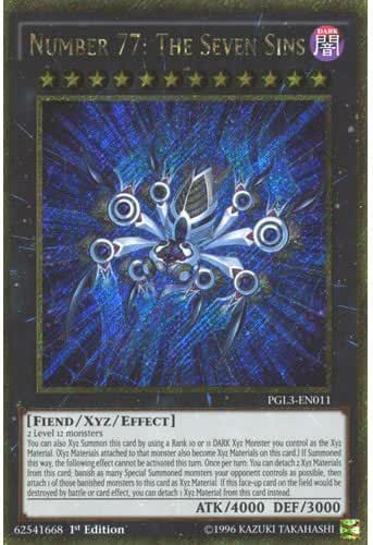 YuGiOh : PGL3-EN011 1st Ed Number 77: The Seven Sins Gold Secret Rare Card - ( Premium Gold 3 ) by Deckboosters