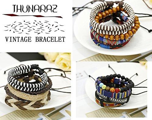 Thunaraz 15Pcs Braided Leather Bracelets for Men Women Natural Stone Wooden Beaded Bracelet Bangle Wrap Adjustable by Thunaraz (Image #1)