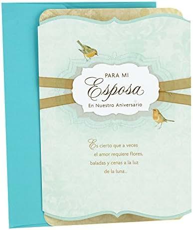 Hallmark Vida Spanish Anniversary Greeting Card for Wife (Birds)
