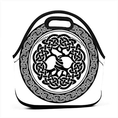 Portable Lunch Bag Carry Case Tote Container Bags,Native Celtic Tree Of Life Figure Ireland Early Renaissance Artsy Modern Design,Unisex Outdoor Travel Fashionable Handbag Pouch for Kids