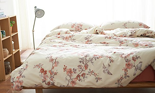Garden Chinoiserie Floral Duvet Quilt Cover Asian Porcelain Style Tree Blossom and Birds Blue and White Watercolor Pattern 300tc Cotton Percale Bedding Set (Twin, Cream Red)