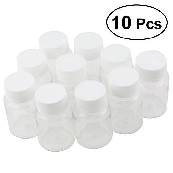 ROSENICE 10 piezas Botellas vacías de plástico de 80ml con tapa para píldoras medicina: Amazon.es: Hogar