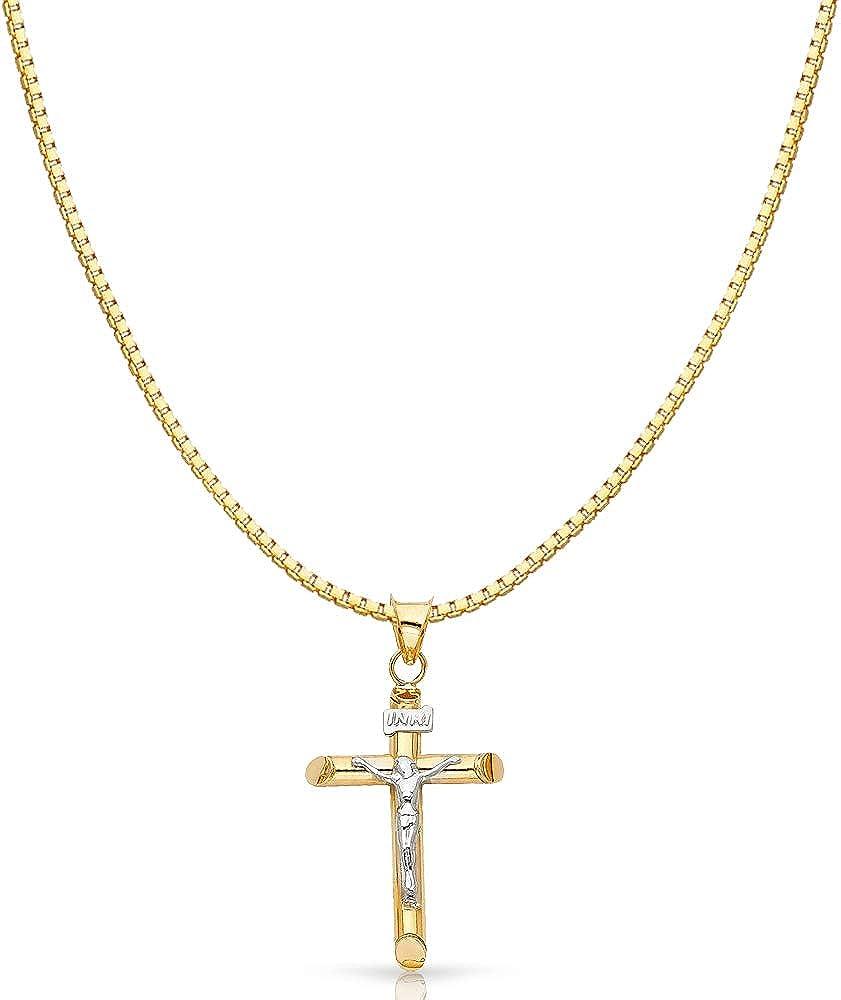 Details about  /14K 2 Tone Gold Jesus Crucifix Cross Religious Pendant /&0.8mm Box Chain Necklace