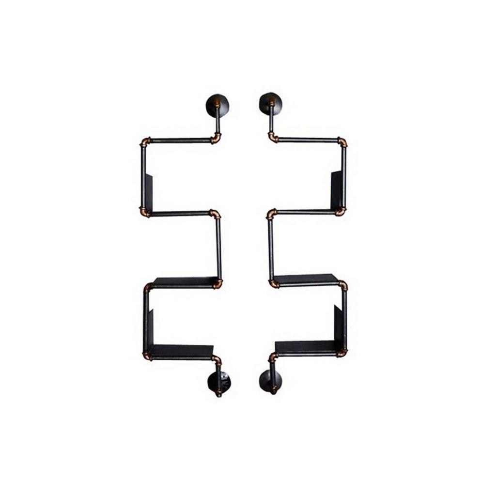 ANDEa 棚、ストレージラックLOFT鉄クリエイティブパイプシェルフは、古い産業スタイルの厚板のブティックを行うW34cmxH121.5cm 独創性 ( 色 : A ) B072MGFZNP A