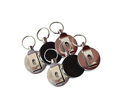 Llavero Retráctil,6 Pack Carrete de Insignia Acero con 28 Pulgadas de Cable Resistencia para Tarjetas de Identidad Llaves de Oficina Negro 4CM