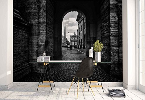 Photo wallpaper wall mural - Stonewall Arch Passageway Cobblestone - Theme Travel & Maps - L - 8ft 4in x 6ft (WxH) - 2 Pieces - Printed on 130gsm Non-Woven Paper - 1X-199639V4 by Fotowalls Photo Wallpaper Murals