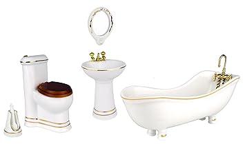 Zamonji 5 Stueck Maßstab 1:12 Miniatur Puppenhaus Möbel Porzellan / Keramik  Puppenbadezimmer   Badewanne
