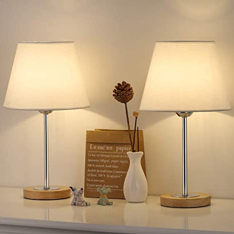 Small Table Lamps Set for Bedroom, Wood Desk Lamp with White Fabric Shade  for Dresses, Nightstand, Bedside, Coffee Table in Living Room, College  Dorm, ...
