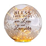 Pavilion Gift Company 19020 Light Your Way LED Lit Glass Lantern, Bless This Home, 8-Inch
