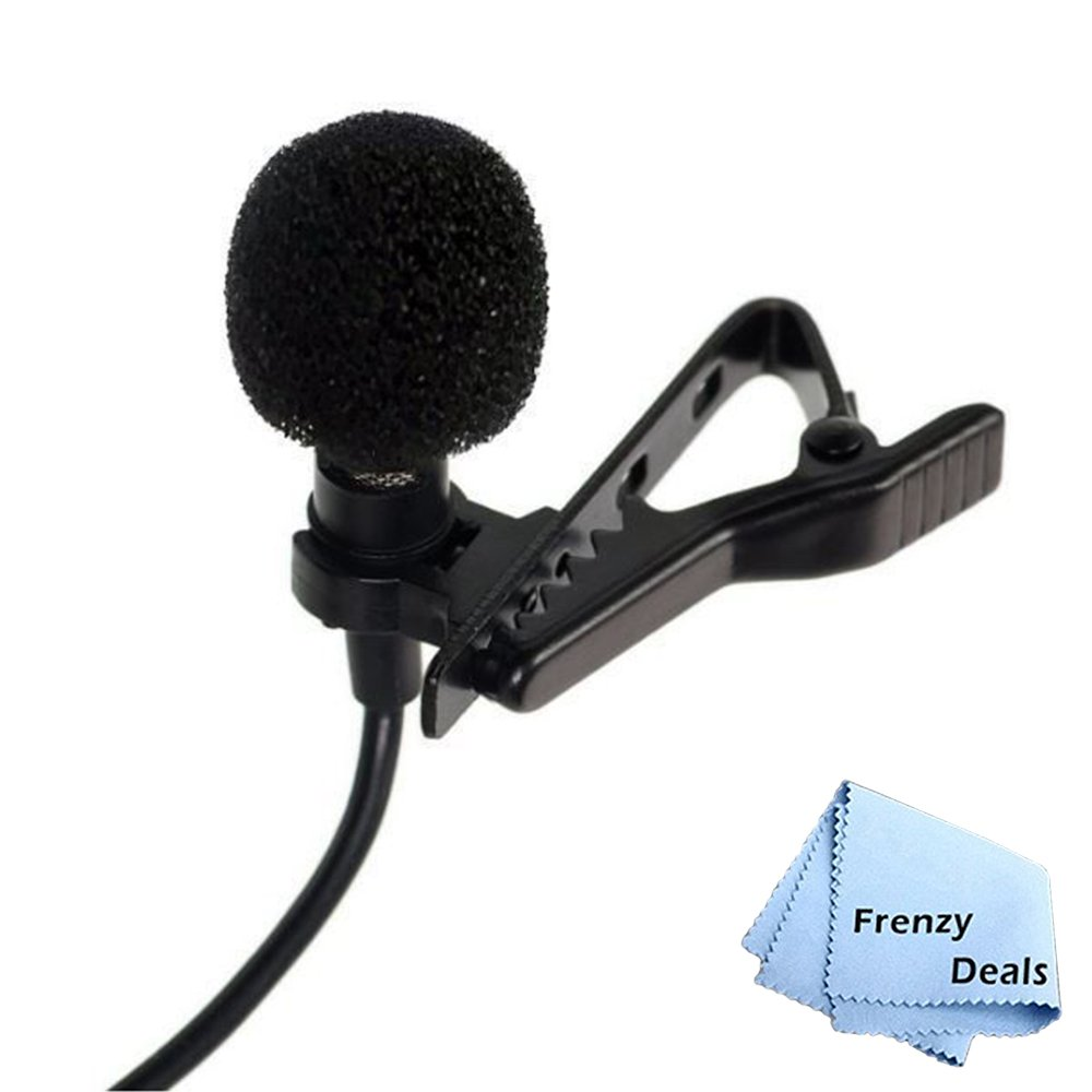 frenzydeals Condenser Omnidirectional Lavalier Mic withクリップとフロントガラスfor iPhone 7、7 +、6s Plus、6s、6 Plus、6、5、samsung s8、s6、s8 +、s7エッジ+ More +マイクロファイバー布 B071V855NL