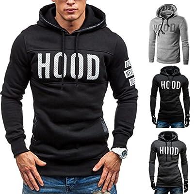 Han Shi Hoodies Coat, Men Hood Print Winter Slim Warm Pullover Sweatshirt Outwear Tops