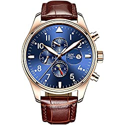 PASOY Men Pilot Automatic Mechanical Gilded Case Sapphire Glass Blue Dial Day Week Month 24/Hours Watches