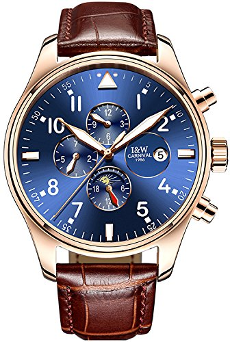Hours Round Sapphire - PASOY Men Pilot Automatic Mechanical Gilded Case Sapphire Glass Blue Dial Day Week Month 24/Hours Watches