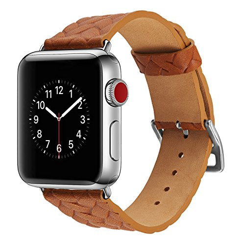 Apple Watch Band 42mm,TOKASA Woven Texture Genuine Leather Iwatch Strap Replacement Bands with Stainless Metal Clasp for Apple Watch Series 3 Series 2 Series 1 Sports Edition mens womens (Brown) (Case Steel Ladies Stainless Polished)