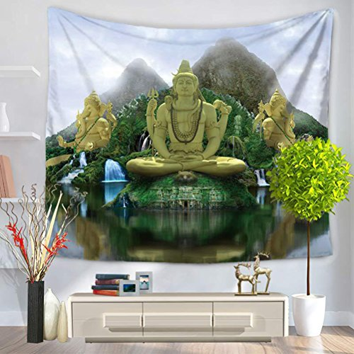 LANGUGU Ethnic Tapestry, Big Giant Statue by the River at Thai Asian Culture Scene Yin Yang Print,59 W X 51 L Inches?Wall Hanging for Bedroom Living Room Dorm by LANGUGU