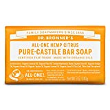 Dr. Bronner's - Pure-Castile Bar Soap (Citrus, 5 ounce) - Made with Organic Oils, For Face, Body and Hair, Gentle and Moisturizing, Biodegradable, Vegan, Cruelty-free, Non-GMO