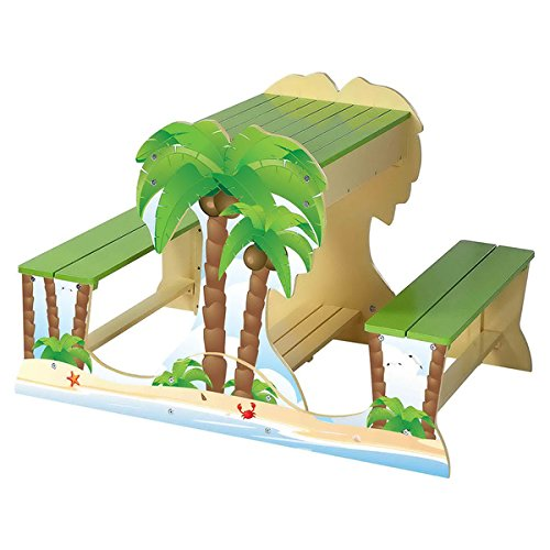 Kids Palm Tree Wood Picnic Table and Sandbox Play Set