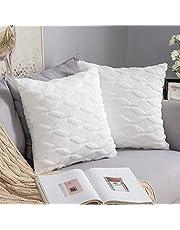 MIULEE Set van 2 wollen kussenslopen, sierkussens, polysters, sofakussen, kussensloop, sierkussenovertrek met verborgen ritssluiting, voor woonkamer en slaapkamer, 40 x 40 cm, zuiver wit