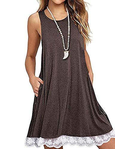 Women's Comfy Lace Trim Swing Tunic Dress Sleeveless Pocket Casual T-Shirt Dress Coffee S (Sleeveless Dress Trim)