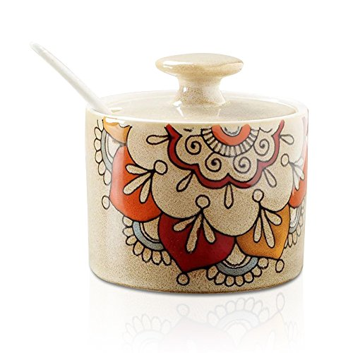 Ceramic Abstract Flower Sugar Bowl with Lid and Spoon Beige