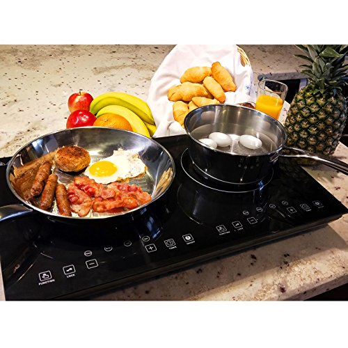 Evergreen Home 1800W Double Digital Induction Cooktop | Portable Countertop Burner-Easy To Clean -