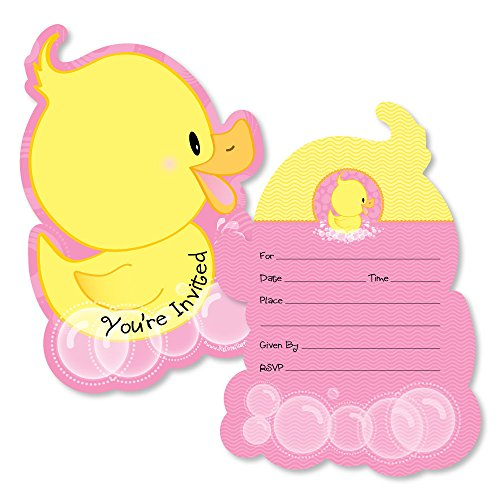 Pink Ducky Duck - Shaped Fill-in Invitations - Baby Shower or Birthday Party Invitation Cards with Envelopes - Set of 12