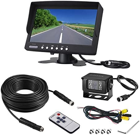 Heavy Duty Vehicle Truck Bus Backup Camera System,Waterproof Night Vision Rear View Camera with 7 inch Monitor 66ft 4 PIN Camera Cable for Bus Truck Van Trailer RV Campers Motor Home 12V 24V