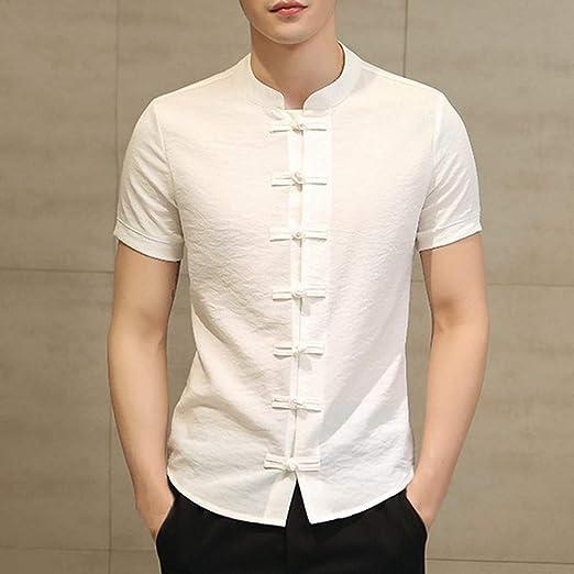 NSSY Camisa de Hombre Hombre Ropa Camisas Sencillas Vestido de Hombre Vestido Chino de Manga Corta Slim Fit Button Down, XXL: Amazon.es: Hogar