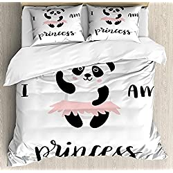 I am a Princess 4 Piece Bedding Set Twin Size, Funny Ballerina Panda Bear Dancing in Pink Skirt Baby Kids Girls, Duvet Cover Set Quilt Bedspread for Childrens/Kids/Teens/Adults, Black and White Rose