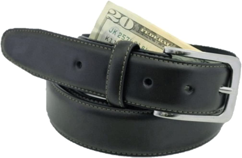 Thomas Bates Mens Deerfield Leather Money Belt Travel Zipper Pocket made in USA