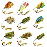 10 Pack 18.4g/0.64oz Mixed Colors Fishing Hard Spinner Baits Lures Hook Kit Spinnerbait Pike Bass Hand Holographic Painted Blades Saltwater Fishing