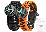 A2S Paracord Bracelet Survival Gear Kit Colorful Everest Series with built-in New Type Compass, Fire Starter, Emergency Knife & Whistle – Pack of 2 – Quick Release Buckles (Black / Orange)