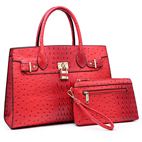 Women Handbag Designer Purse Fashion Ladies Shoulder Bag Top Handle Satchel Bag  with Pouch-red Ostrich Leather
