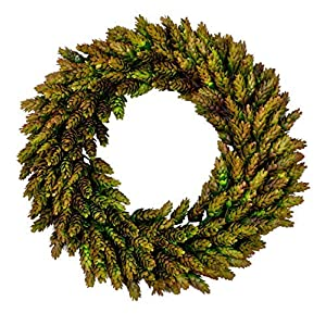 Lilypad Lake Rustic Front Door Harvest Green Beer Hops Wreath Spring Centerpiece, 16-Inch 7