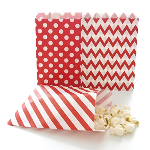 Red Party Bags, Paper Christmas Candy Treat Bags, Holiday Wedding Favor Gift Bags, 75 Pack - Red Striped, Polka Dot & Chevron Bags (Holiday Treat Gift Ideas)