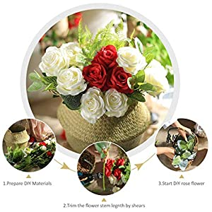 Veryhome Artificial Flowers Silk Roses Fake Bridal Wedding Bouquet for Home Garden Party Floral Decor 10 Pcs (White Curved stem) 4