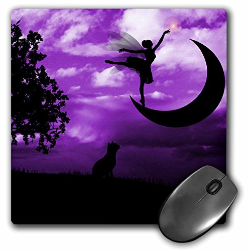 3drose-llc-8-x-8-x-025-inches-mouse-pad-fairy-dancing-on-crescent-moon-with-cat-and-purple-sky-mp-11