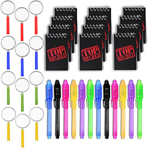 (36 Spy Favors - 12 Invisible Ink Pen with UV light + 12 Mini