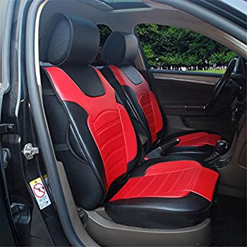 180208S Black Red 2 Front Car Seat Cover Cushions Leather Like Vinyl Compatible To FORD FIESTA SE FOCUS ST FUSION 2017 2007