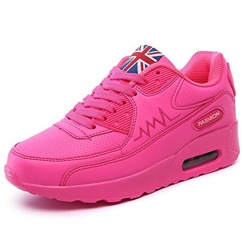 Wealsex Zapatos Para Correr En Montaña Asfalto Aire Libre Deportes Zapatillas De Running Para Mujer Zapatos Casuales Mujer Cuero PU Rose