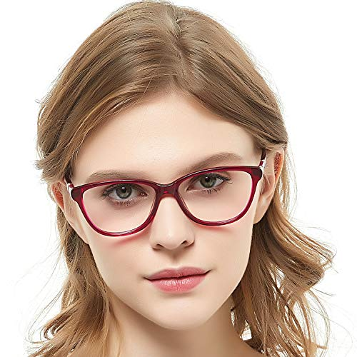 OCCI CHIARI Women Safety Eyewear Non-Prescription Eyeglasses Frame Clear Lenses Glass Red