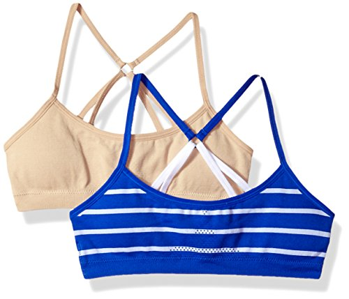 Hanes Big Girl's ComfortFlex Fit Seamless Racerback with Foam 2-Pack Bra, Nude/Flight Blue with White Stripe, Medium ()