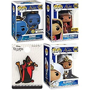 Dark Glow Genie Aladdin Pop! Exclusive Bundled with + Princess Jasmine Figure Desert Moon + Prince Ali Vinyl & Villain Character Jafar Pin Collection 4-Items