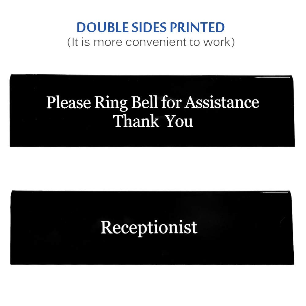 Receptionist Sign 7.8 Inches x 2 Inches UCEC Please Ring Bell for Assistance Thank You Sign Double Sides Printed Office Sign for Lobby Or Front Desk Service