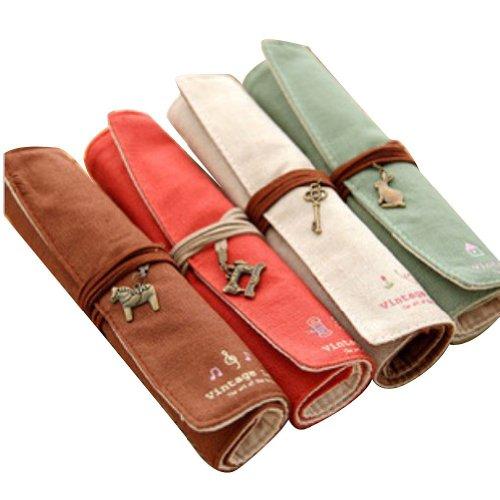 Eforstore 4 Pcs Pastorable Canvas Pen Bag Pencil Case Cosmet