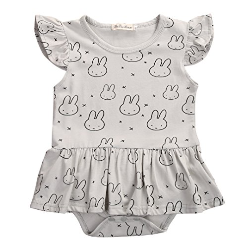 Cute Bunny Outfits (Newborn Toddlers Baby Girls Cute Bunnies Print Fly Sleeve Romper Bodysuit Outfit (0-6 Months))