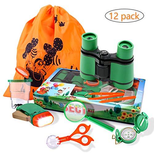 Adventure Kids - Outdoor Explorer Exploration Children's Toys Kit- Binoculars, Flashlight, Compass, Magnifying Glass, Whistle, Butterfly Net for Educational, Camping, Hiking, Backyard