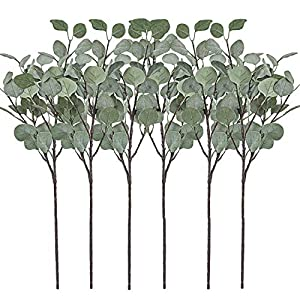 Artificial Greenery Stems 6 Pcs Straight Silver Dollar Eucalyptus Leaf Silk Greenery Bushes Plastic Plants Floral Greenery Stems for Home Party Wedding Decoration 1