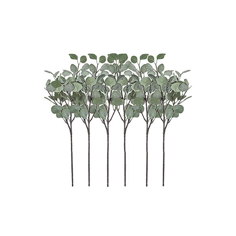 silk flower arrangements artificial greenery stems 6 pcs straight silver dollar eucalyptus leaf silk greenery bushes plastic plants floral greenery stems for home party wedding decoration